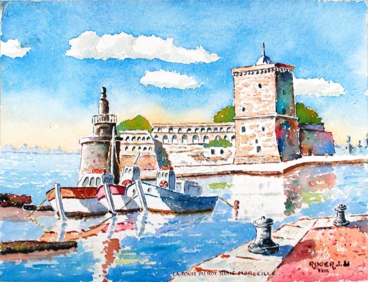 TABLEAU PEINTURE - La Tour du Roy René au Vieux-Port à Marseille
