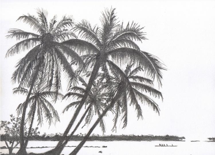 Dessin dessin paysage tableau crayon paysages crayon - Dessiner un paysage ...