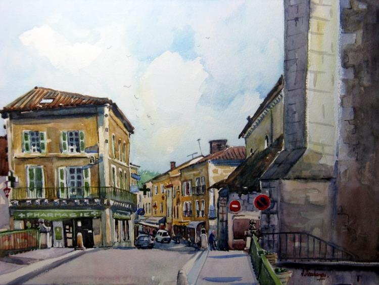 TABLEAU PEINTURE paysage ville brantôme rue puyjoli - rue puyjoli à brantôme