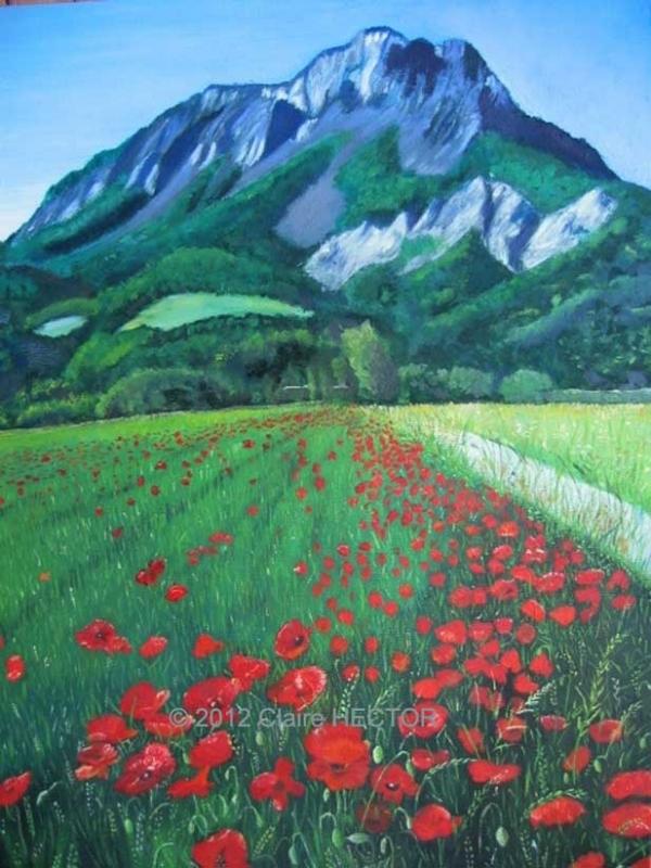 TABLEAU PEINTURE paysage fleurs montagne blé - COQUELICOTS