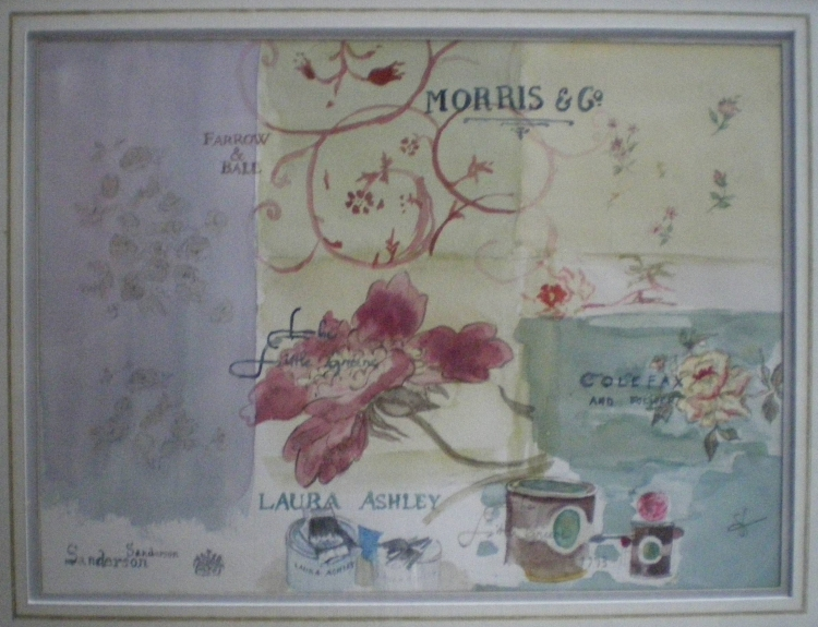 Tableau Peinture Art Tissus Anglais Papiers Peints Angla Fleurs