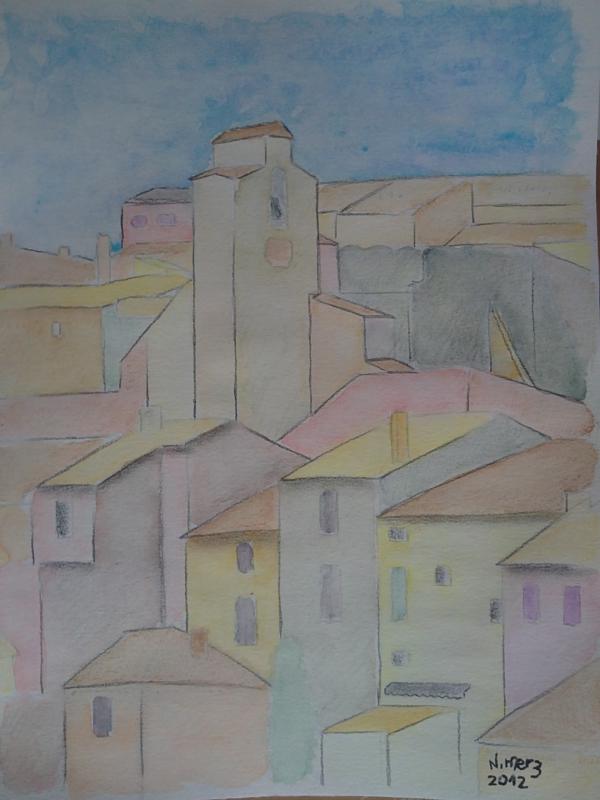 DESSIN Couleurs Roussillon Village Maisons - Roussillon