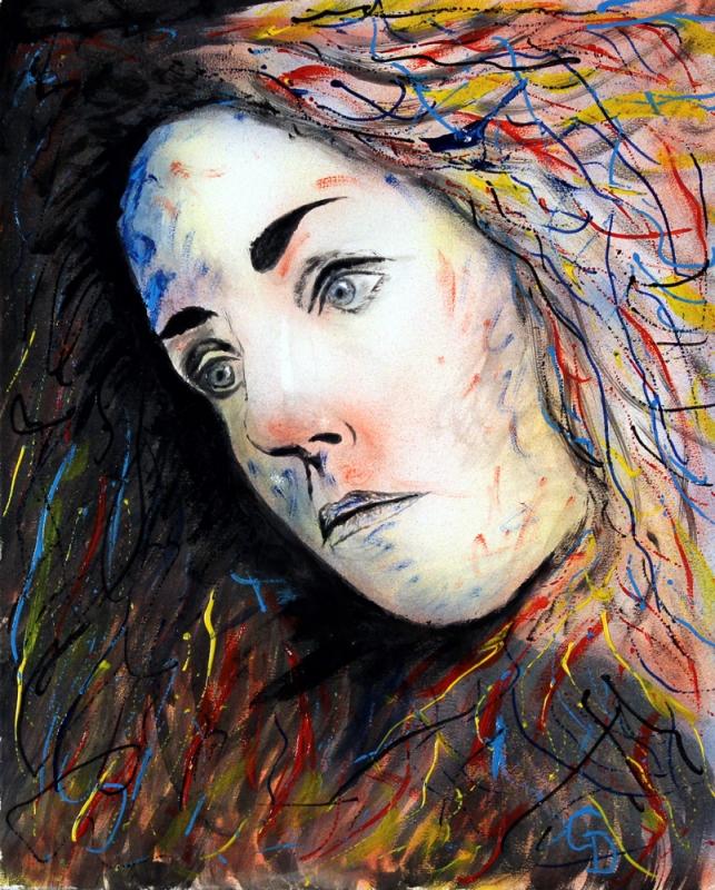 TABLEAU PEINTURE peinture acrylique toile visage - 278 - Emergence