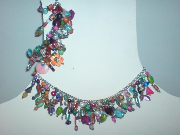 BIJOUX collier bracelet multicolor perles - Parure d'été