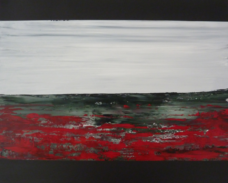 TABLEAU PEINTURE paysage coquelicots champs - Mes champêtres I
