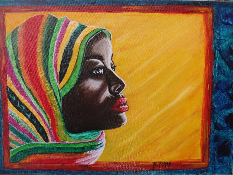 TABLEAU PEINTURE portrait afrique arc en ciel femme - couleures d 'Afrique