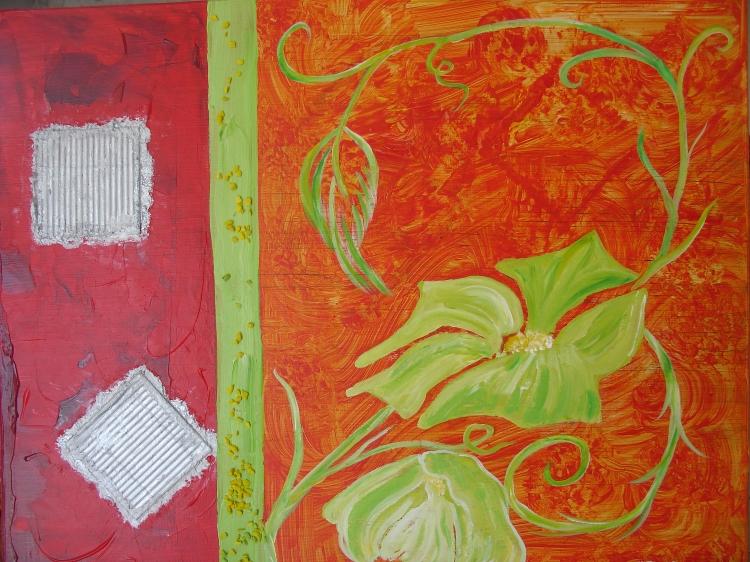TABLEAU PEINTURE fleur rouge jardin expression - aux portes du jardin