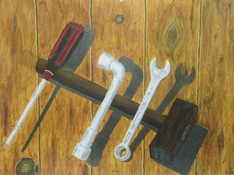 TABLEAU PEINTURE outils cle a pipe et plate tounevis marteau - outils