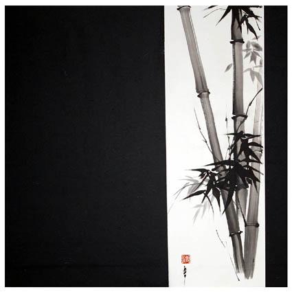 TABLEAU PEINTURE bambous zen sumi-e peinture chinoise - bambous B&W