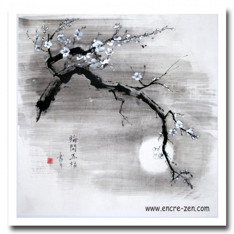 TABLEAU PEINTURE Japon encre de chine fleurs clair de lune - Cerisier en fleur