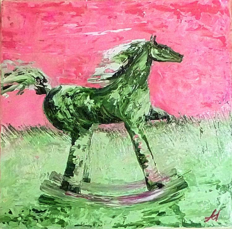 TABLEAU PEINTURE liberté cheval bascule anna maillard - LIBERTE