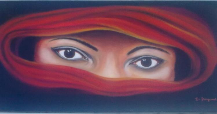 Tableau Peinture Art regard ailleurs yeux