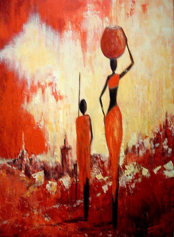 TABLEAU PEINTURE afrique femmes Africans women paint - Afrique (2)