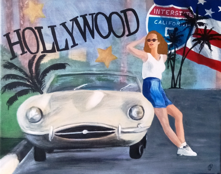 TABLEAU PEINTURE Hollywood Amerique pin'up voiture - Hollywood