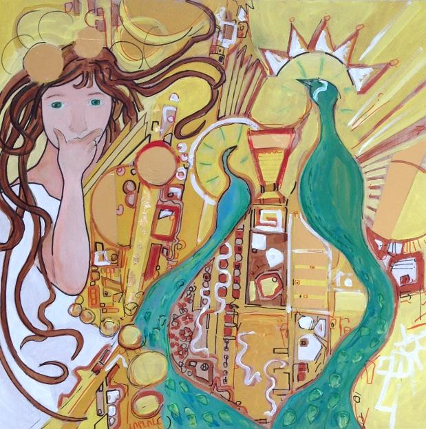 TABLEAU PEINTURE panneau bois art nou art deco toile toulo pucha klimt acaht toile peinte mucha - les deux paons
