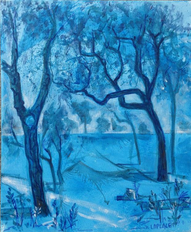 TABLEAU PEINTURE arbre bleu pyasge paysage peinture toile blue arbre,dec achat tableau deco b - arbre bleu