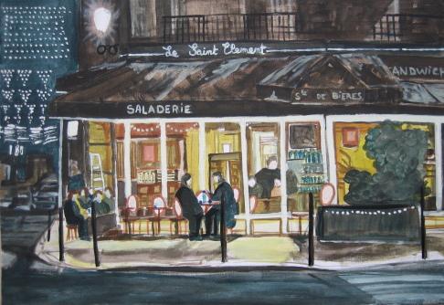 Tableau Peinture Art Bar De Nuit Paysage Nuit Café Peinture Tableau