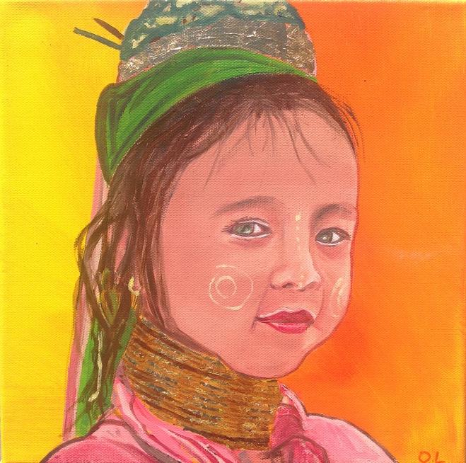 TABLEAU PEINTURE sanou petite fille thai thailande table achat tableau assie asiatic thai paintin - sanou