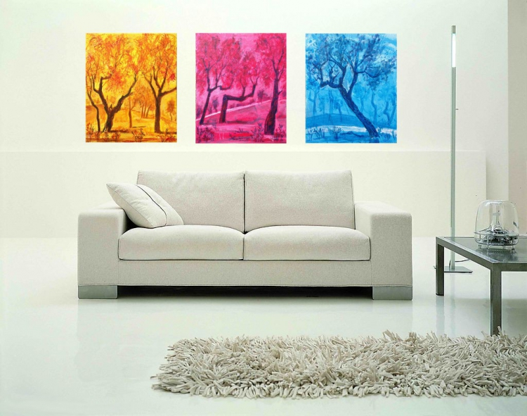 TABLEAU PEINTURE tableau deco triptyq tryptique deco peint toile frejus arbre s provence painting - triptyque arbres