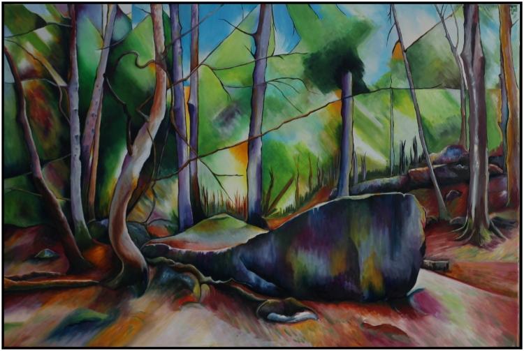 """TABLEAU PEINTURE vert foret morte abstrait - """"La Barque des Morts"""""""