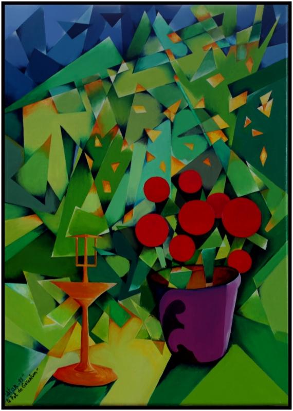 """TABLEAU PEINTURE fleurs abstrait vert - """"Le Pot de Géranium"""""""