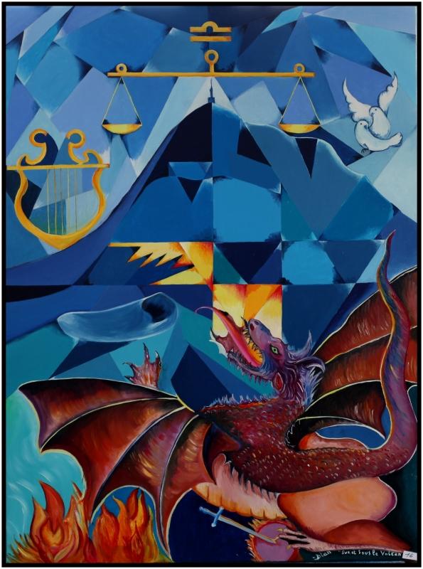 """TABLEAU PEINTURE bleu volcan dragon - """"Sur et sous le Volcan"""""""