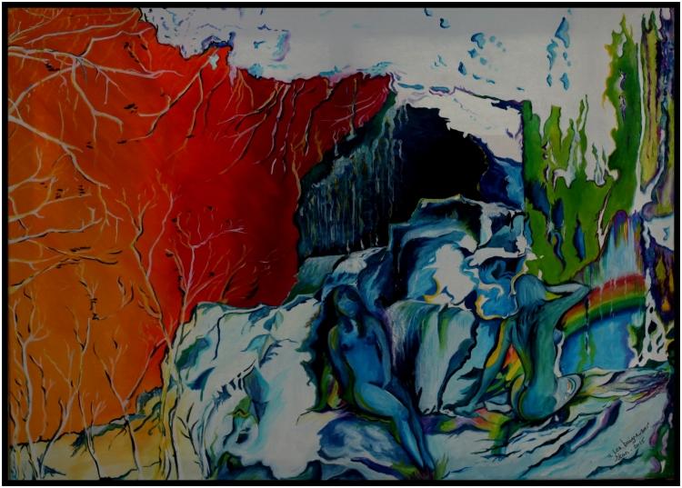"""TABLEAU PEINTURE abstrait bain eau - """"Les Baigneuses"""""""