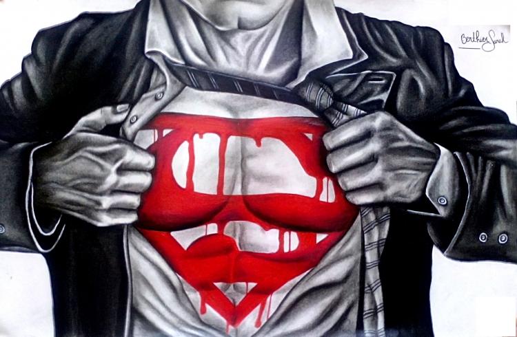 Tableau Peinture Art Superman Torse Homme Marvel Personnages