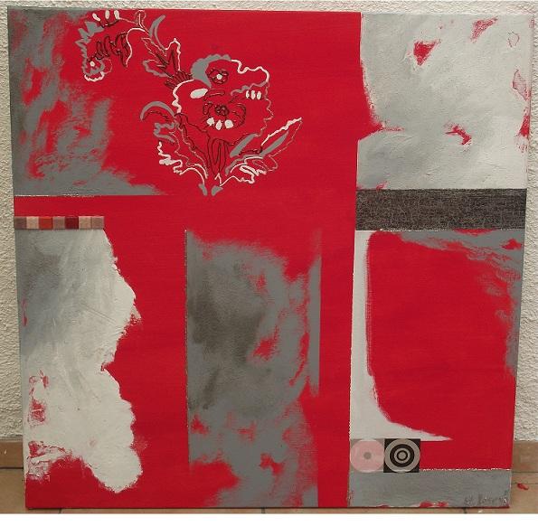 TABLEAU PEINTURE tableau contemporain abstrait rouge - La vie en rouge. Tableau contemporain abstrait rouge et gris