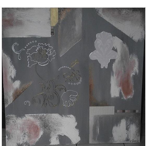 TABLEAU PEINTURE tableau contemporain abstrait gris - Abstract flowers. Tableau contemporain abstrait gris et blanc