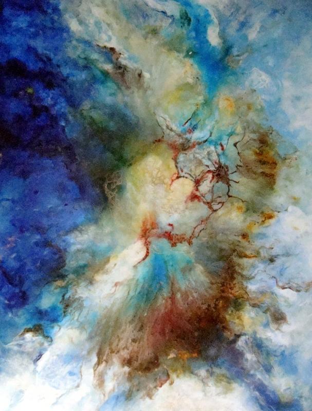 Tableau Peinture Art BLEU BLANC MIROIR UNIVERS