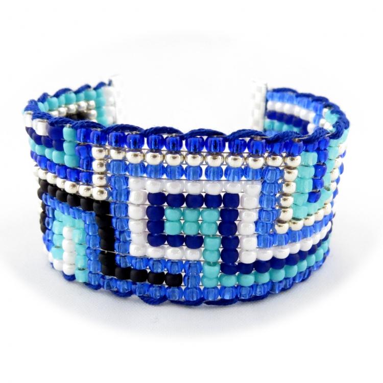 BIJOUX bracelet perle bleu brésilien - Bracelet manchette brésilien friendship FRAMA bleu turquoise cob