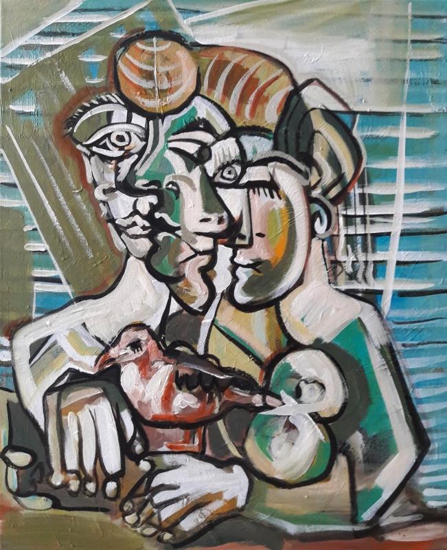 "TABLEAU PEINTURE Sam KEUSSEYAN Sam KEUSSEYAN k Sam Sam KEUSSEYAN - "" Étude d'après Picasso """