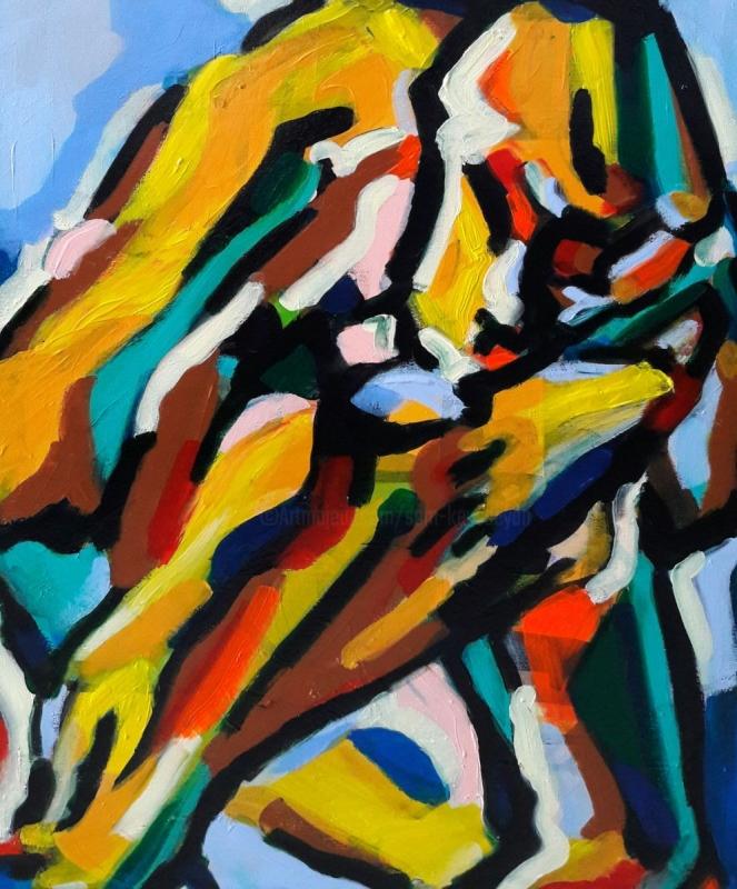 TABLEAU PEINTURE Jnh Nju Kju Sam - Cubisme
