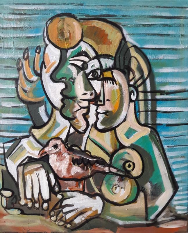 "TABLEAU PEINTURE Sam KEUSSEYAN Sam 63 Sam Sam KEUSSEYAN k - "" Étude d'après Picasso """