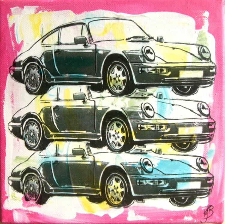 Tableau Peinture Art - porsche-911-f1-wharol-