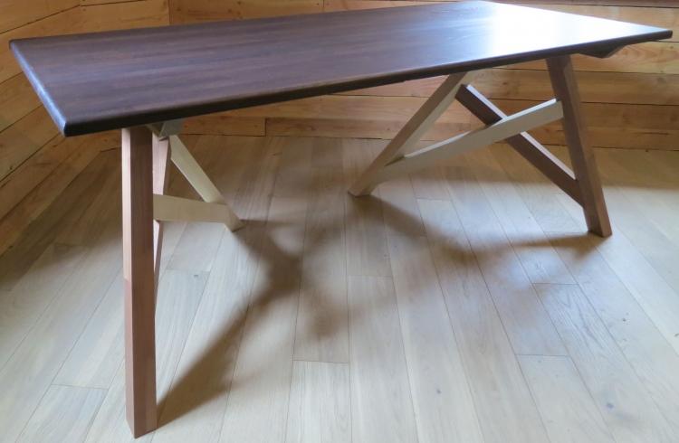 Bureau treteaux bois bureau tréteau planche bois métal look