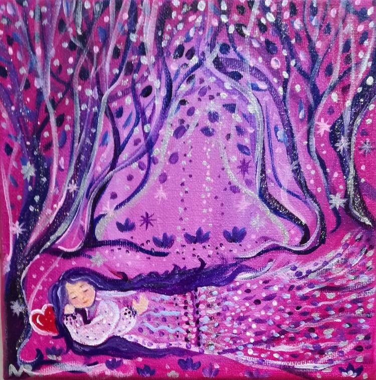 Tableau Peinture Art toile féérique enfance chambre enfant ...