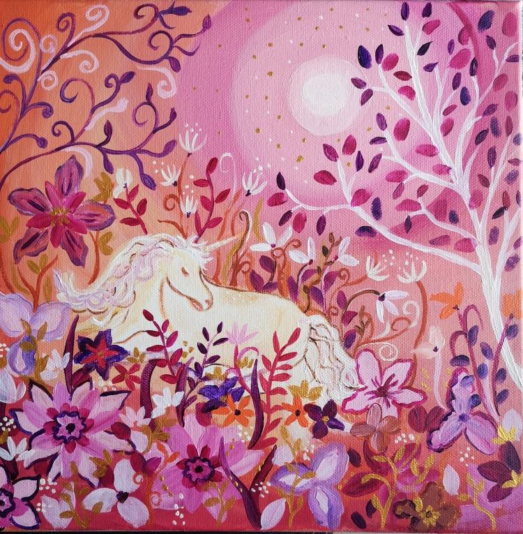 TABLEAU PEINTURE jardin , licorne toile féérique univers onirique toile pour enfant - Douce Lune