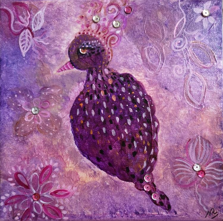 TABLEAU PEINTURE - petit oiseau tendre