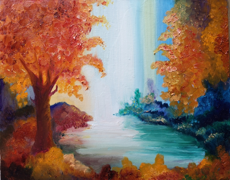 TABLEAU PEINTURE carton toilé nature, paysage auto arbre et point d flamboyant - Nature