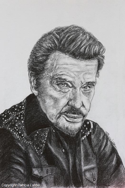 Dessin Johnny Rock Idole Chanteur Personnages Crayon Portrait De