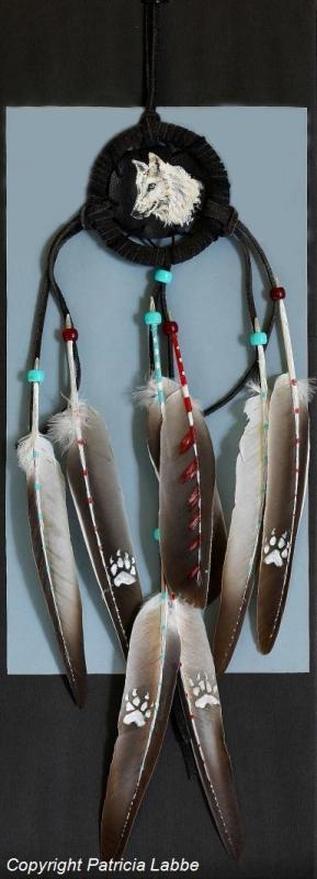TABLEAU PEINTURE loups tête pattes attraperêves - Tête de loup blanc