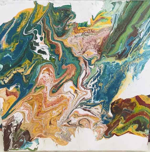TABLEAU PEINTURE POURING automne abstrait - couleurs automnales
