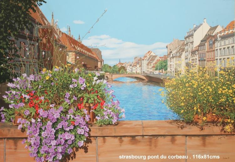 Tableau Peinture Art Ville Strasbourg Bateaux Pont Paysages Peinture A L Huile Pont Du Corbeau