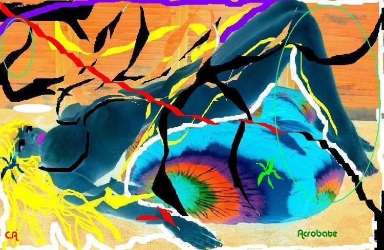 ART NUMéRIQUE peinture sur photo nu femme coloré - acrobate