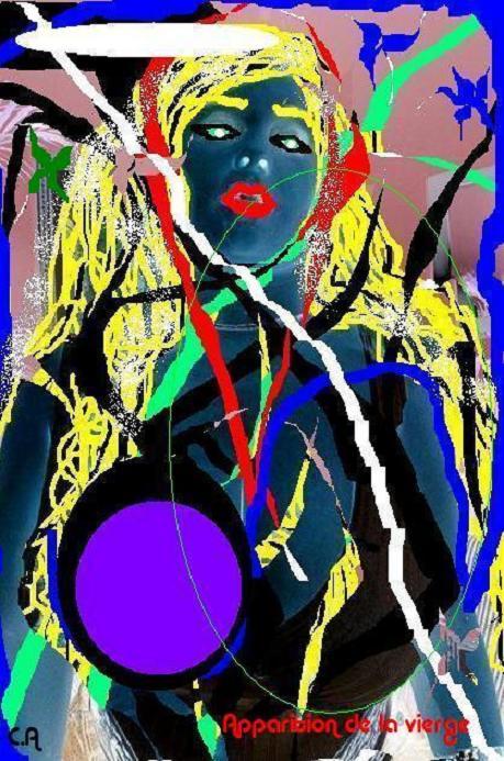 ART NUMéRIQUE peinture sur photo nu femme coloré - Apparition de la vierge
