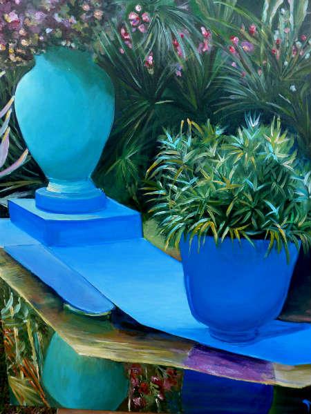 Tableau Peinture Art Jardin Pots Vert Bleu Paysages