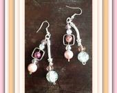 BIJOUX boucles d'oreil perles cristal - boucles d'oreilles Perles Cristal rose et blanches craquelé