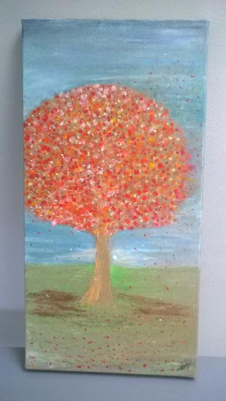 TABLEAU PEINTURE feuille automnal soleil arbre - automnal'nord